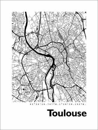 Cuadro de metacrilato  Mapa de Toulouse - 44spaces