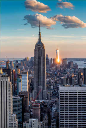 Lienzo  Empire State Building en la puesta del sol - Mike Centioli