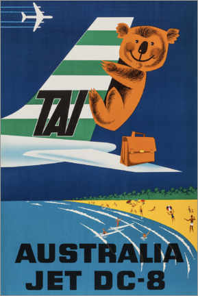 Póster  Australia Jet DC-8 - Travel Collection