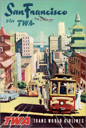 Póster  San Francisco vía TWA - Travel Collection