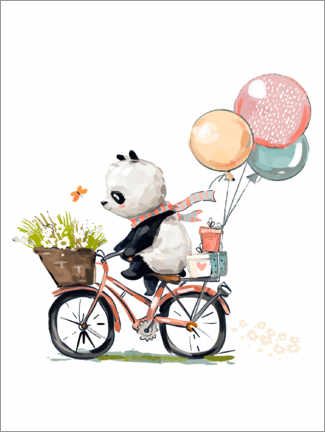 Póster  Panda en bicicleta - Kidz Collection