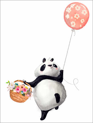 Póster  Oso panda con globo - Kidz Collection