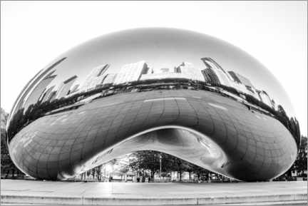 Lienzo  Chicago Cloud Gate, blanco y negro - HADYPHOTO