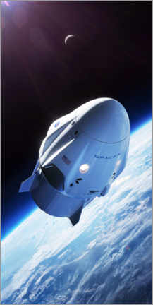 Cuadro de PVC  SpaceX crew dragon en órbita - Spacex
