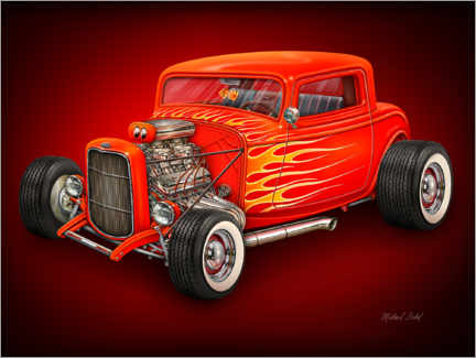 Cuadro de madera  Red Hot Rod - Michael Fishel