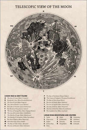 Lienzo  Mapa lunar (inglés) - Wunderkammer Collection