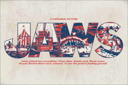 Vinilo para la pared  Jaws - Perfect feeding ground