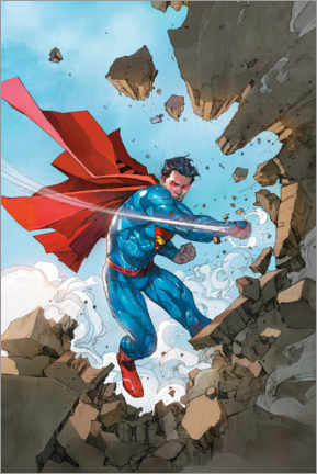 Póster  Superman breaking walls