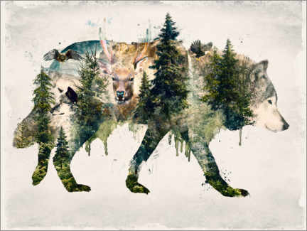 Póster  Walk with wolves - Barrett Biggers