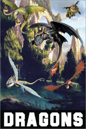 Cuadro de madera  DreamWorks Dragons excursion