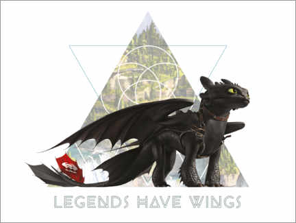 Póster  Legends have wings - Toothless