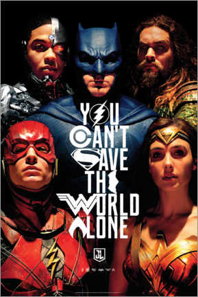 Cuadro de madera  Justice League - Can't save the world alone