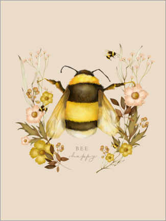 Póster Floral con abeja