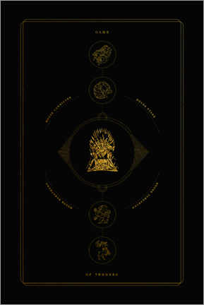 Vinilo para la pared  GOT: Throne and four houses - gold