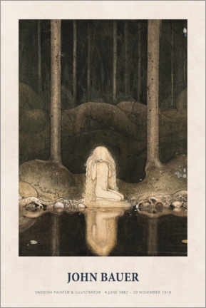 Póster  John Bauer - Princess Tuvstarr gazing down - Museum Art Edition