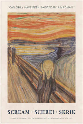 Cuadro de PVC  Edvard Munch - The Scream - Painted by a madman - Museum Art Edition