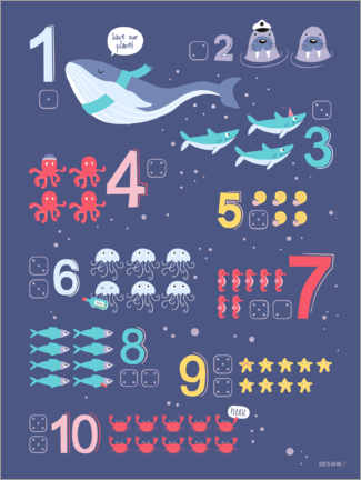 Lienzo  Counting numbers with marine animals - Heyduda