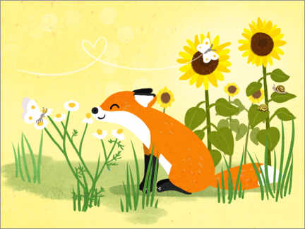 Póster Fox with sunflowers