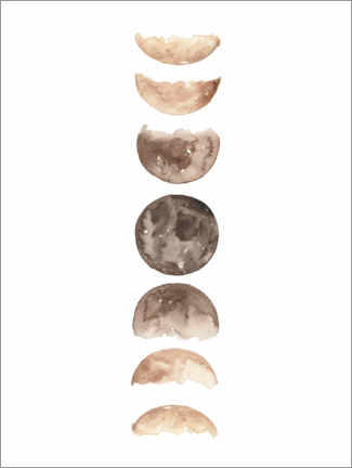 Póster Moon phases watercolor
