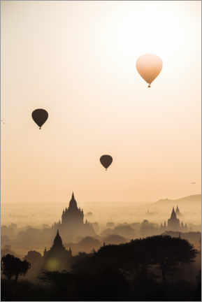 Póster Balloons over the temples, Burma
