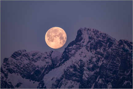 Cuadro de madera  Full moon over the mountains - Fotomagie