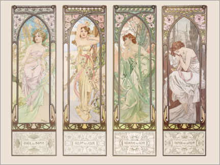 Vinilo para la pared  The Times of the Day - Alfons Mucha