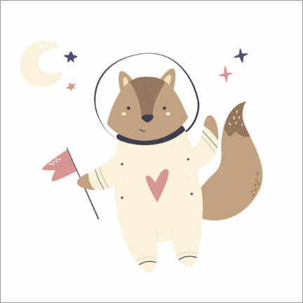 Póster  Little raccoon in space - Kidz Collection