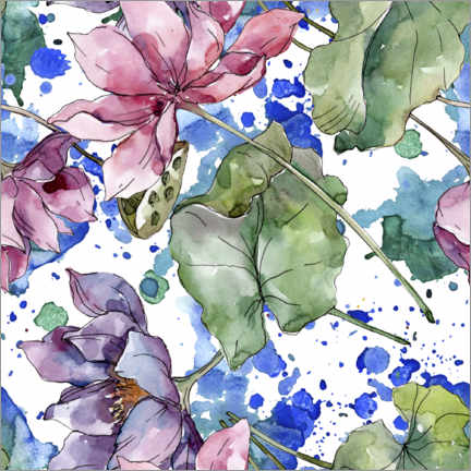 Póster Beautiful flowers in watercolor