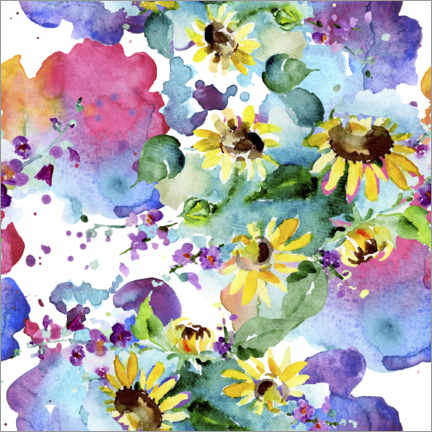 Póster Sunflowers in watercolor