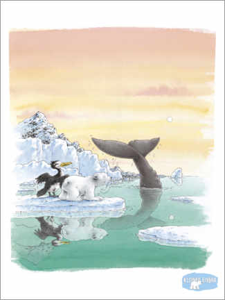 Póster  The little polar bear Lars and the big whale
