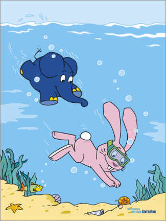 Póster  Elephant and rabbit under water