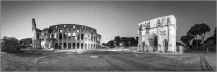 Póster Colosseum and Arch of Constantine black and white