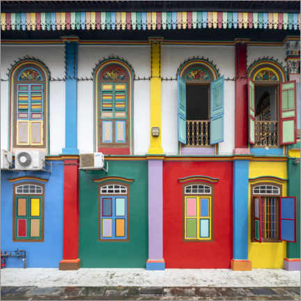 Vinilo para la pared  Colorful house facades in the Little India district in Singapore - Jan Christopher Becke