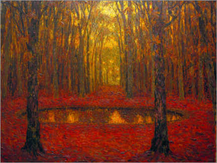 Póster  The Pond at Versailles in Autumn - Henri Le Sidaner
