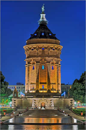 Póster Lighted Water Tower in Mannheim