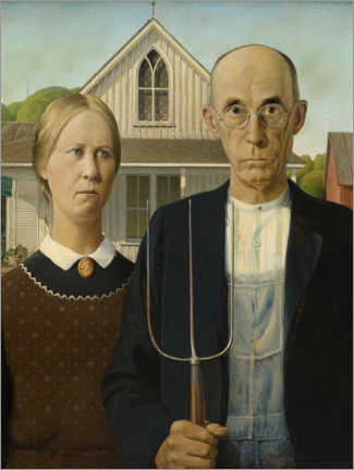 Póster  American Gothic - Grant Wood