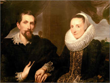 Lienzo  Portrait of the painter Frans Snydersand his wife - Anthonis van Dyck