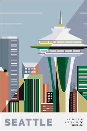 Póster  space needle seattle - Nigel Sandor
