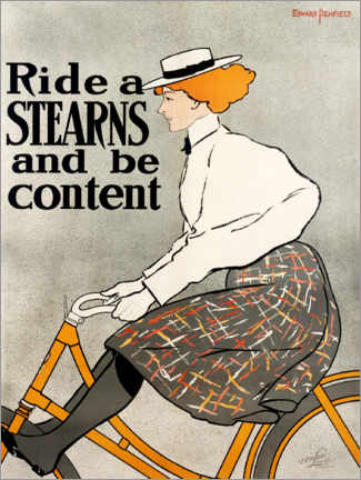 Cuadro de madera  Ride a Stearns and be content - Edward Penfield