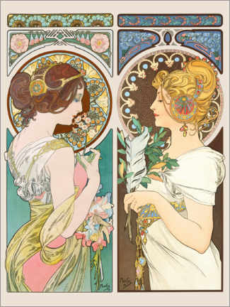Póster  Flores y plumas - Alfons Mucha