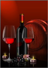 Kalle60 - Two wine glasses with red wine bottle and grapes