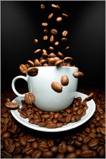 Vinilo para la pared  Falling coffee beans cup - pixelliebe