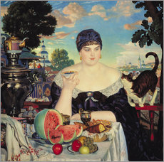 Vinilo para la pared  The Merchant's Wife at Tea - Boris Mihajlovic Kustodiev