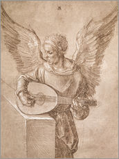 Vinilo para la pared  Angel playing a lute - Albrecht Dürer