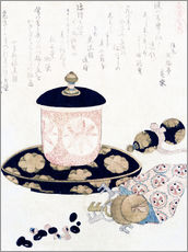 Cuadro de plexi-alu  A Pot of Tea and Keys - Katsushika Hokusai