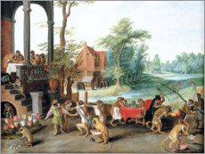 Vinilo para la pared  A Satire of the Folly of Tulip Mania - Jan Brueghel d.Ä.