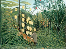 Vinilo para la pared  Tiger attacks a buffalo - Henri Rousseau