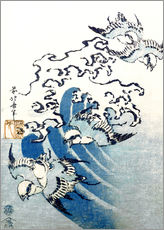 Vinilo para la pared  Waves and Birds - Katsushika Hokusai