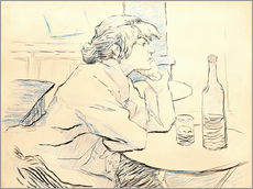 Vinilo para la pared  Suzanne Valadon sitting at table - Henri de Toulouse-Lautrec