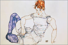 Vinilo para la pared Seated Woman with violet stockings